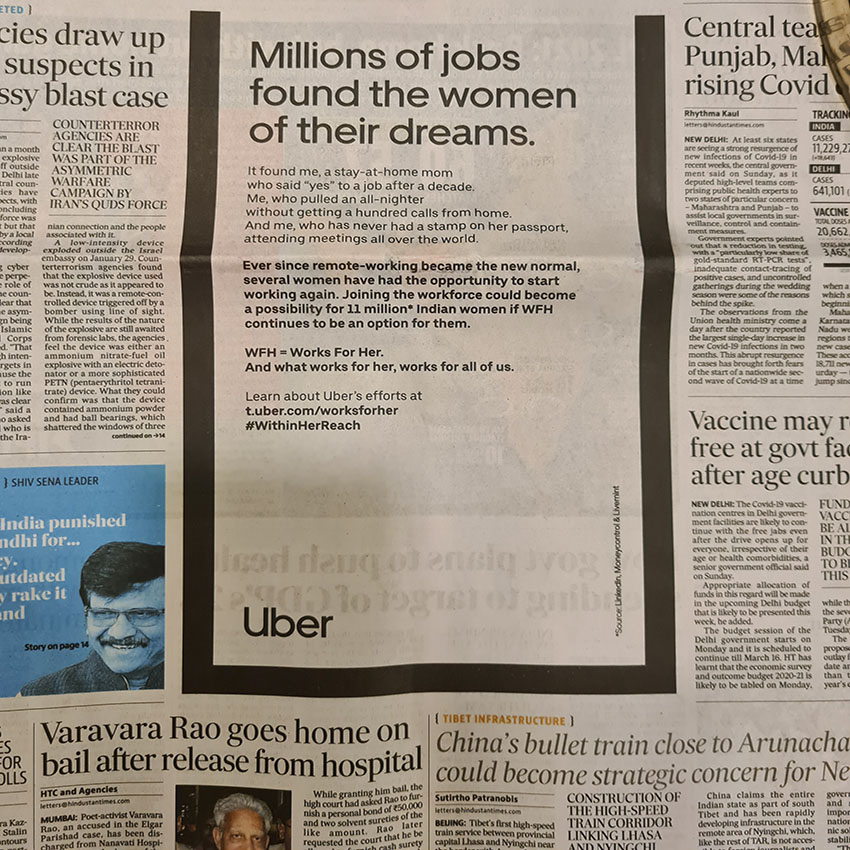 Pandemic or not, Uber India and Dentsu Webchutney want every opportunity to be #WithinHerReach