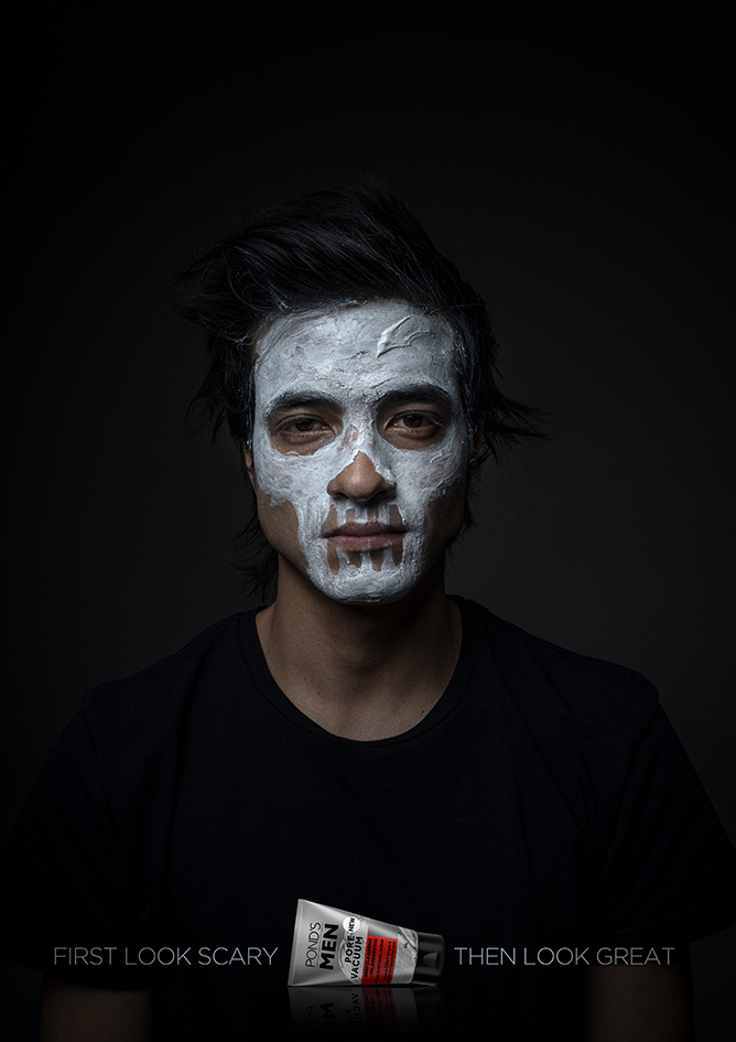 Pond's Men says to look great you first need to look scary via new print campaign created by Ogilvy Singapore