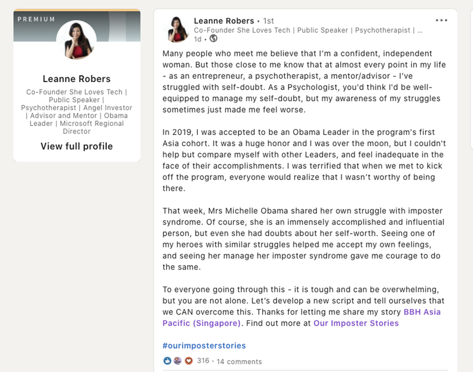 LinkedIn users reveal their insecurities via BBH Singapore's Barn Internship Program 'Our Imposter Stories' campaign