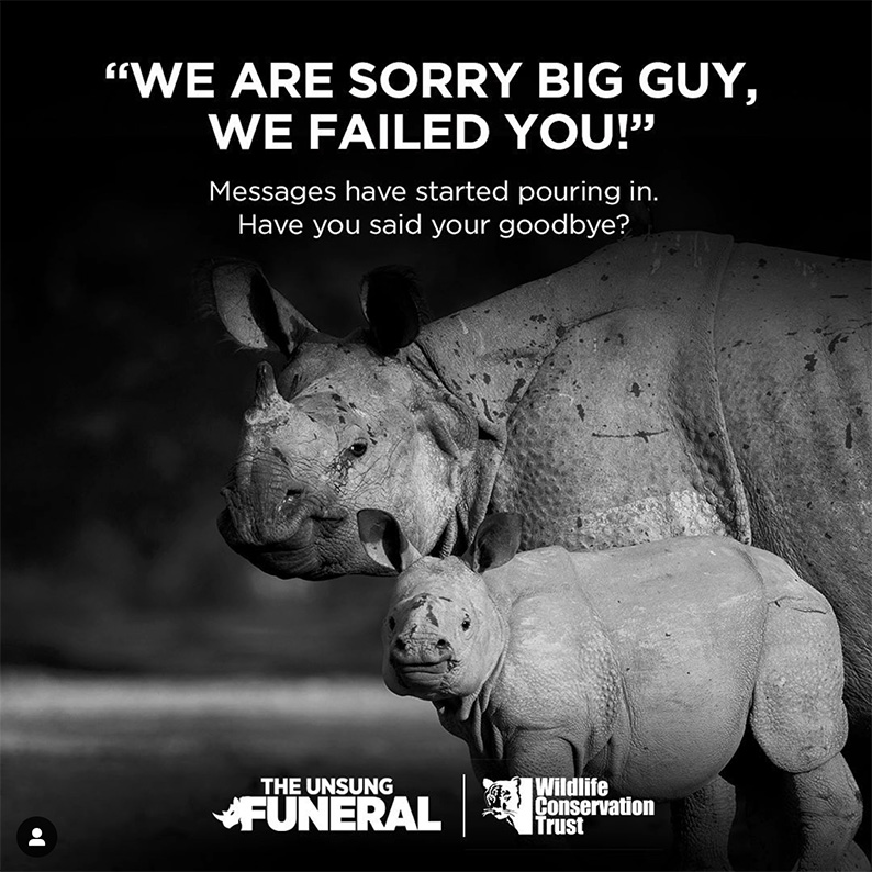 Wildlife Conservation Trust partners Isobar India, dentsu X India & Perfect Relations to show solidarity with Assam Government's initiative to deter rhino horn poaching