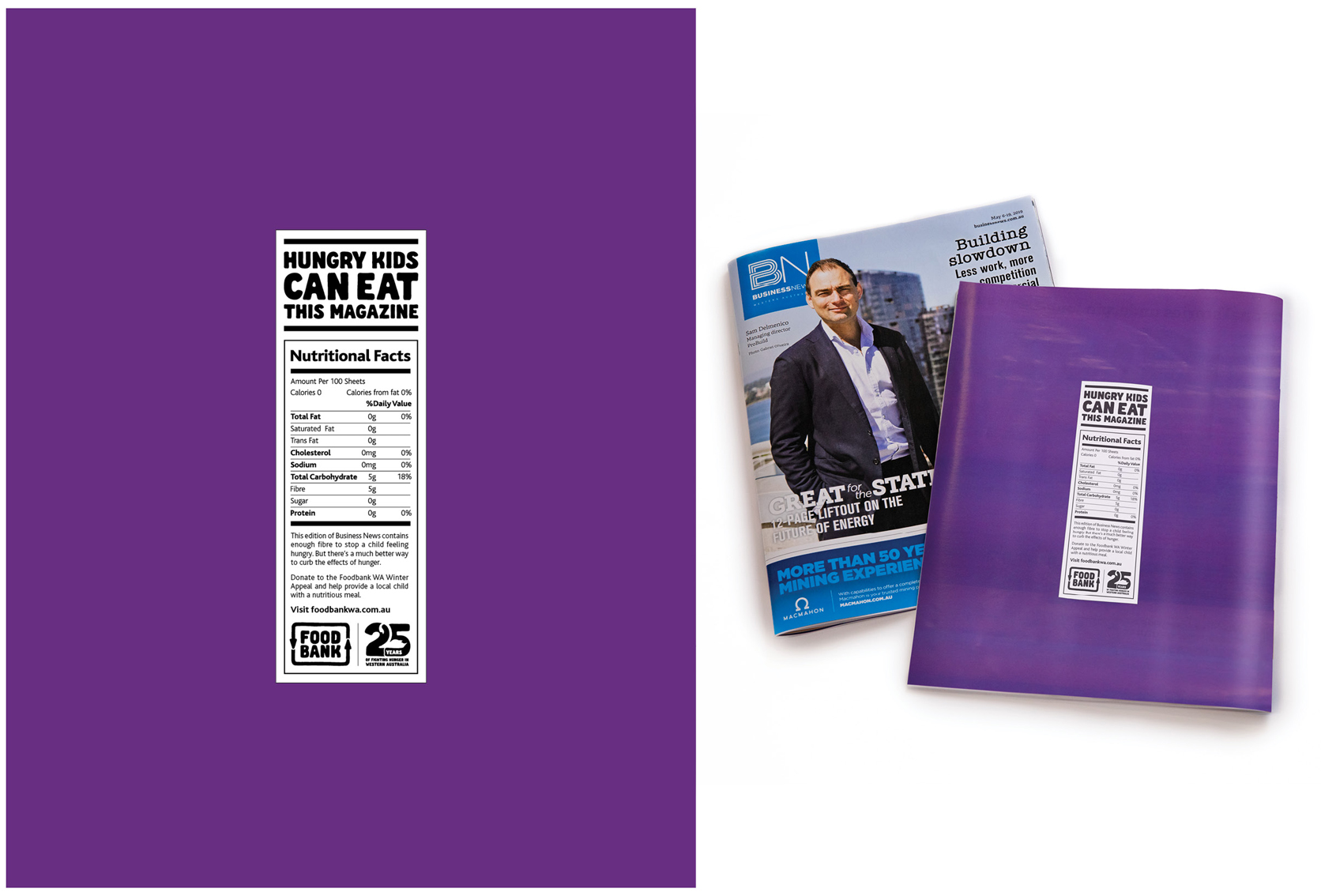 Brand Agency releases new print work for Foodbank WA Winter Appeal that offers a magazine as a kid's meal