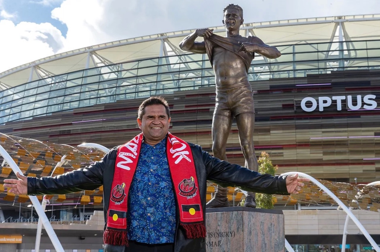 Historic Nicky Winmar sculpture unveiled at Optus Stadium via Alex Wadelton + Aaron Tyler