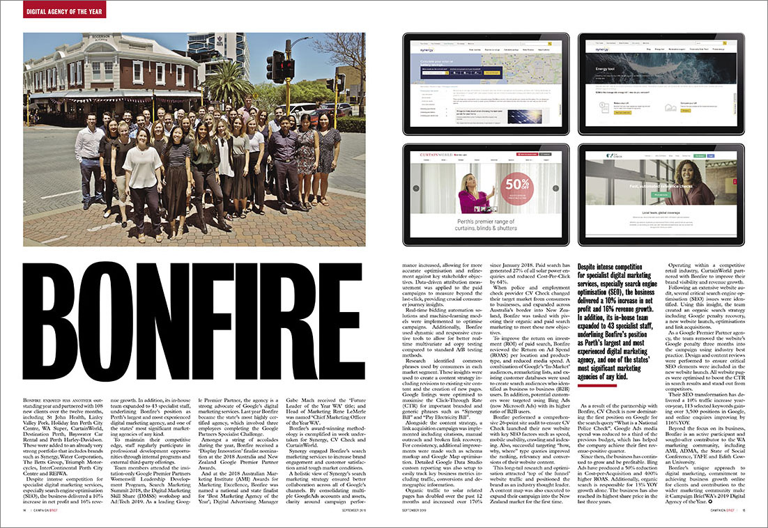Search specialists Bonfire named 2019 Campaign Brief WA Digital Agency of the Year