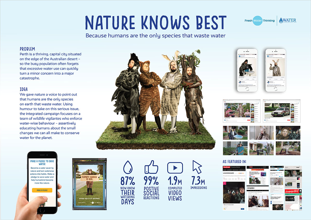 Water Corporation Nature Knows Best campaign via The Brand Agency wins Best Integrated Campaign at AC&E Awards; Brand's Simon Thuijs recognised as Young Strategist of the Year