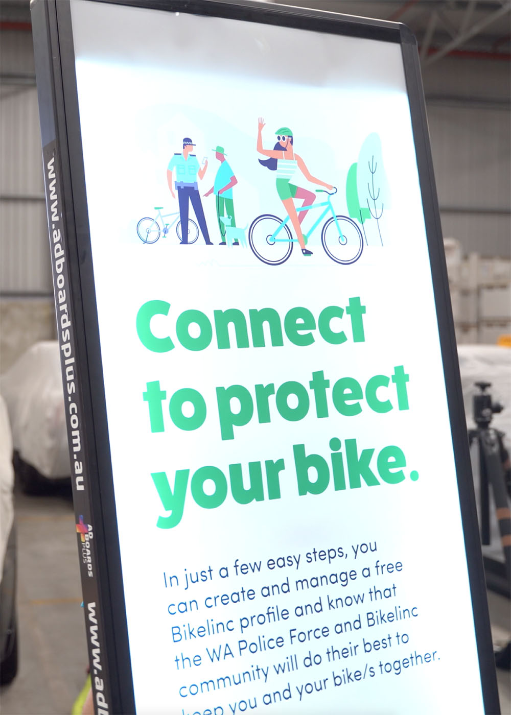 Ad Boards Plus provide in-kind support for Crime Stoppers W.A. and feature at launch of BikeLinc