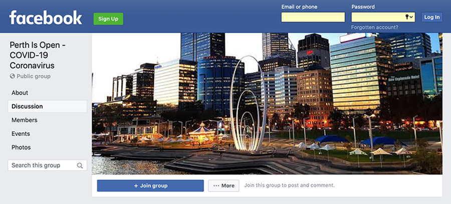 Rene LeMerle creates Perth Is Open Facebook group for small businesses still operating