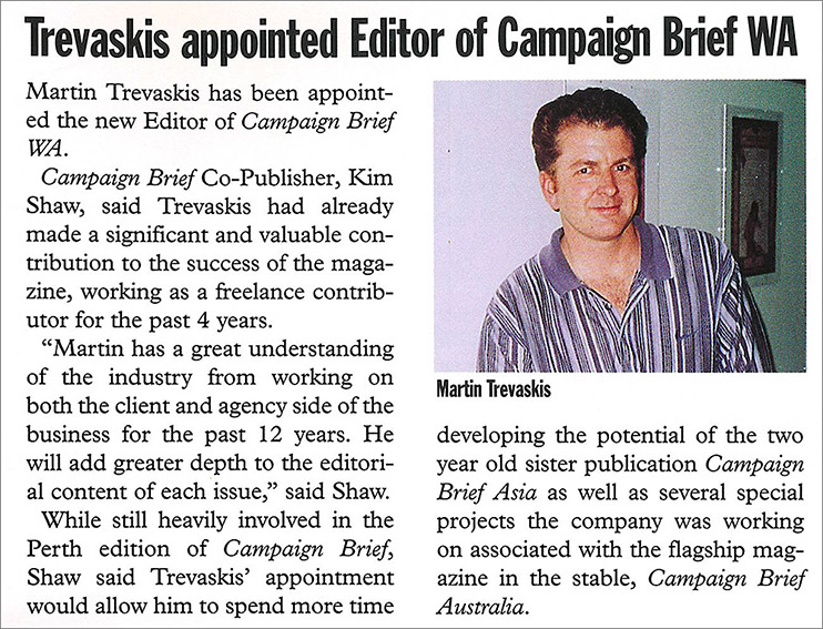 Publisher and Editor Martin Trevaskis retires after 21 years with Campaign Brief WA