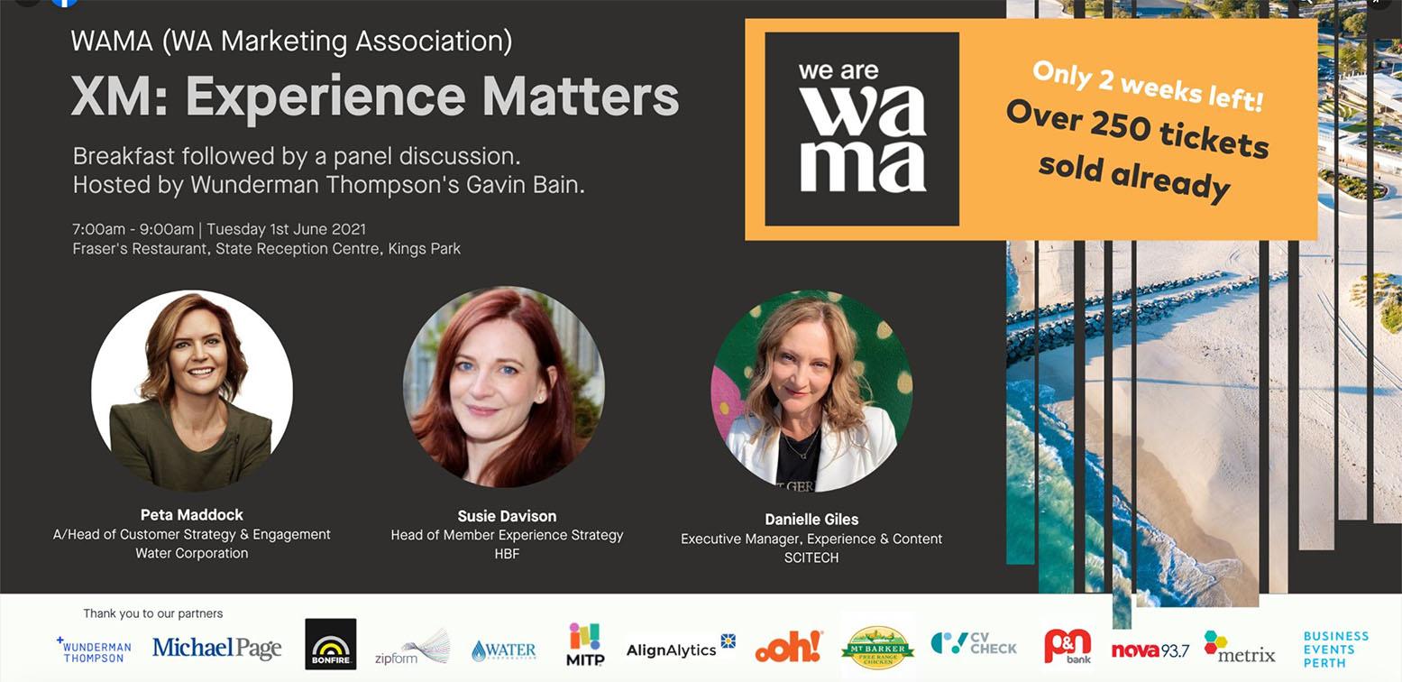 WA Marketing Association (WAMA) presents inaugural XM   Experience Matters breakfast event on Tuesday 1 June