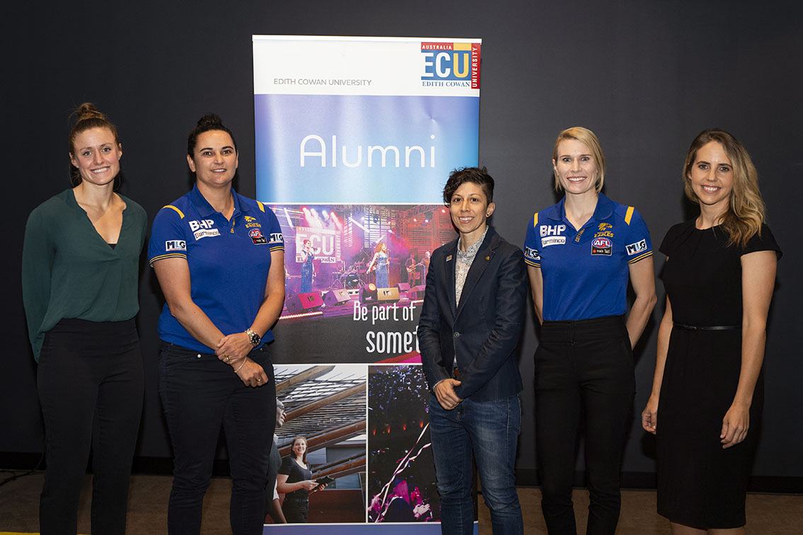 10 News First Perth Sport Reporter Ashleigh Nelson hosts Women in Elite Sport panel at ECU