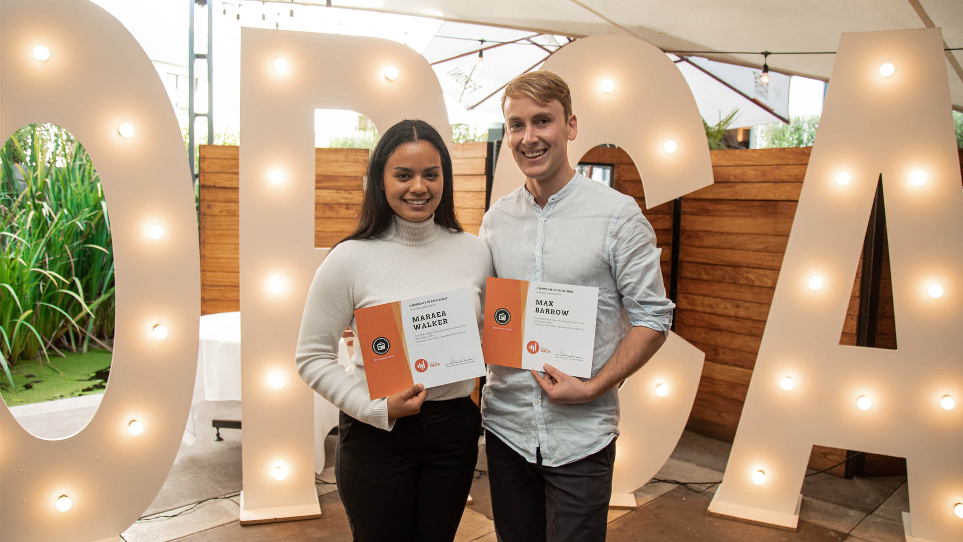 Media Design School's  Maraea Walker and Max Barrow named winners of TRB Student ORCA