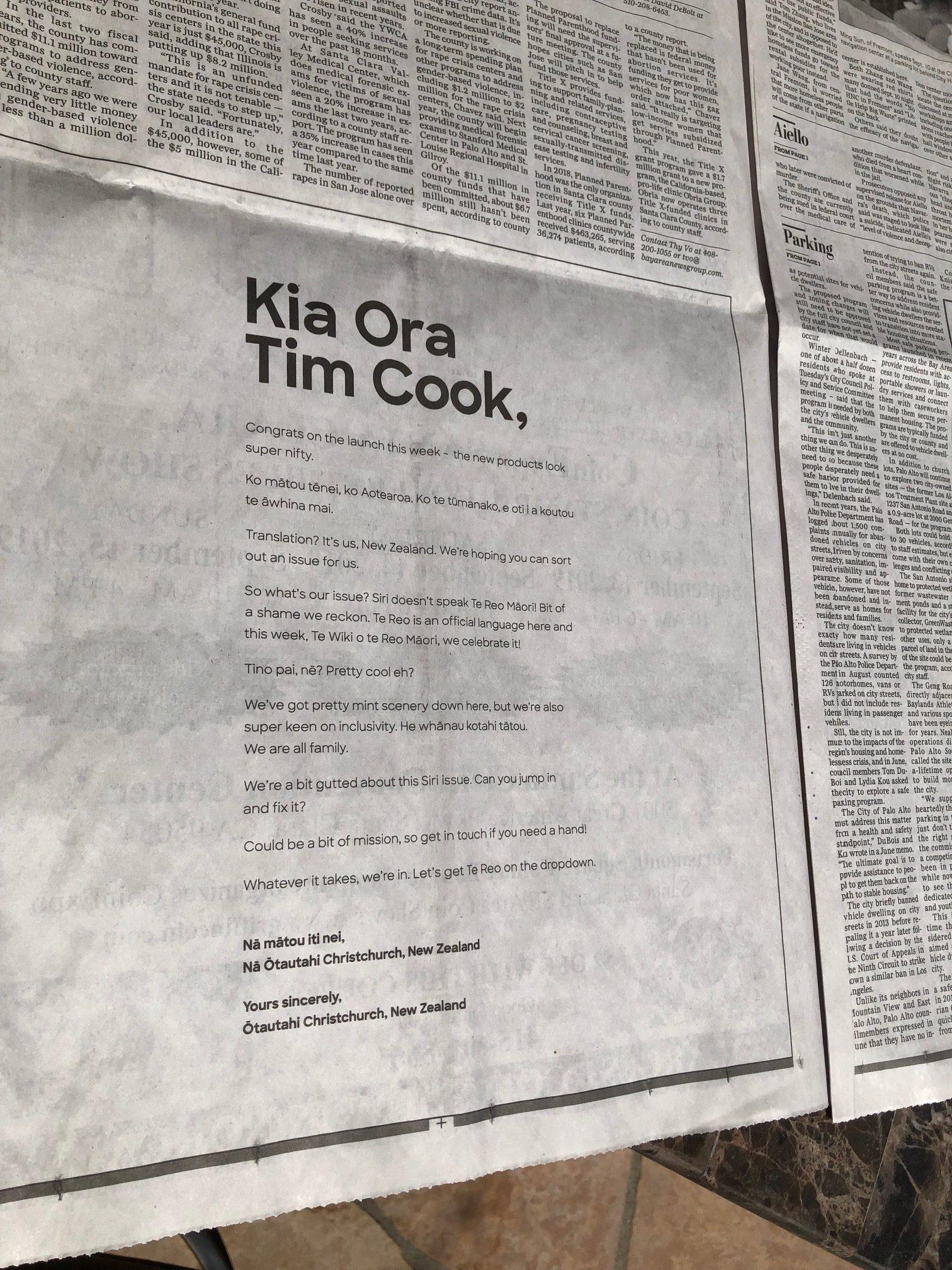 Otautahi Christchurch urges Apple CEO to teach Siri Te Reo Māori in new ad via ChristchurchNZ