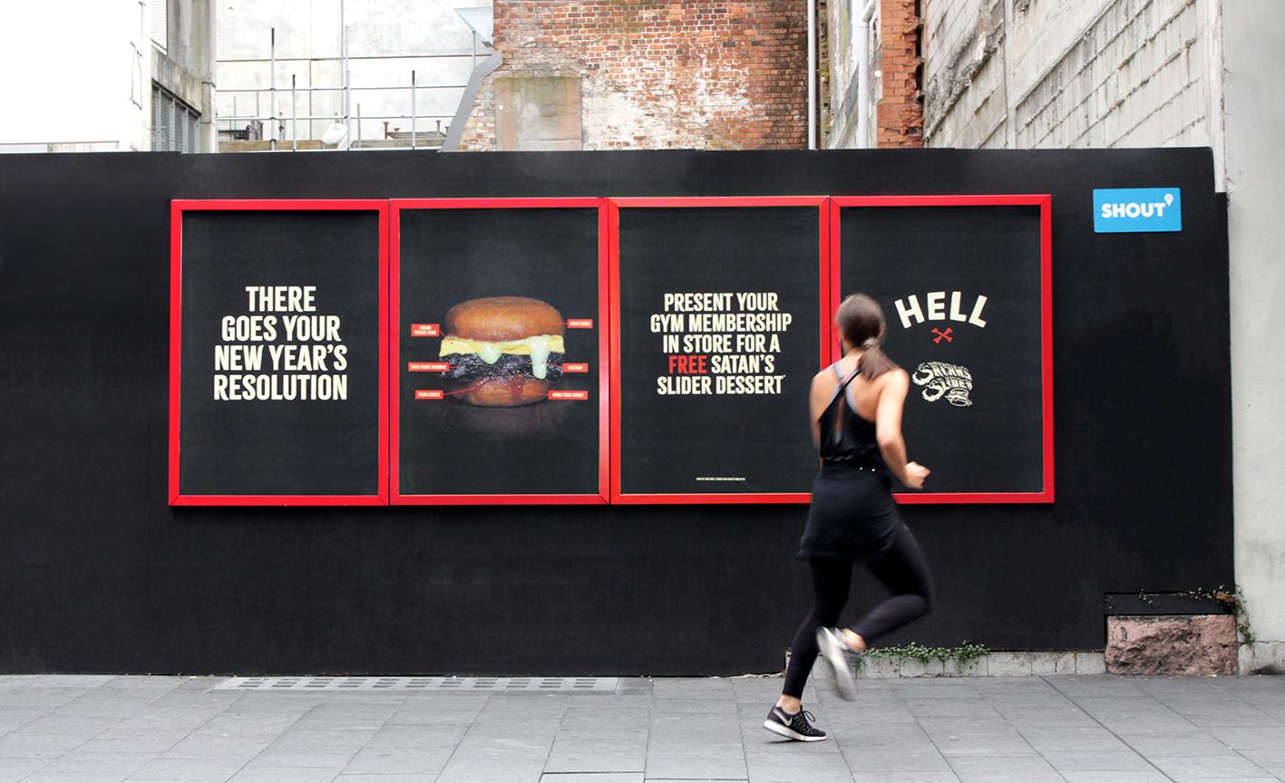 Hell stalks the weak-willed with Satan's Slider dessert burger in new OOH work via BC&F Dentsu