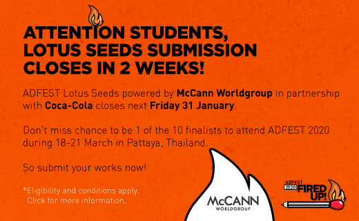 Final reminder for students: Enter AdFest's 'Lotus Seeds' program before Jan 31 for a chance to be mentored by McCann and Coca-Cola