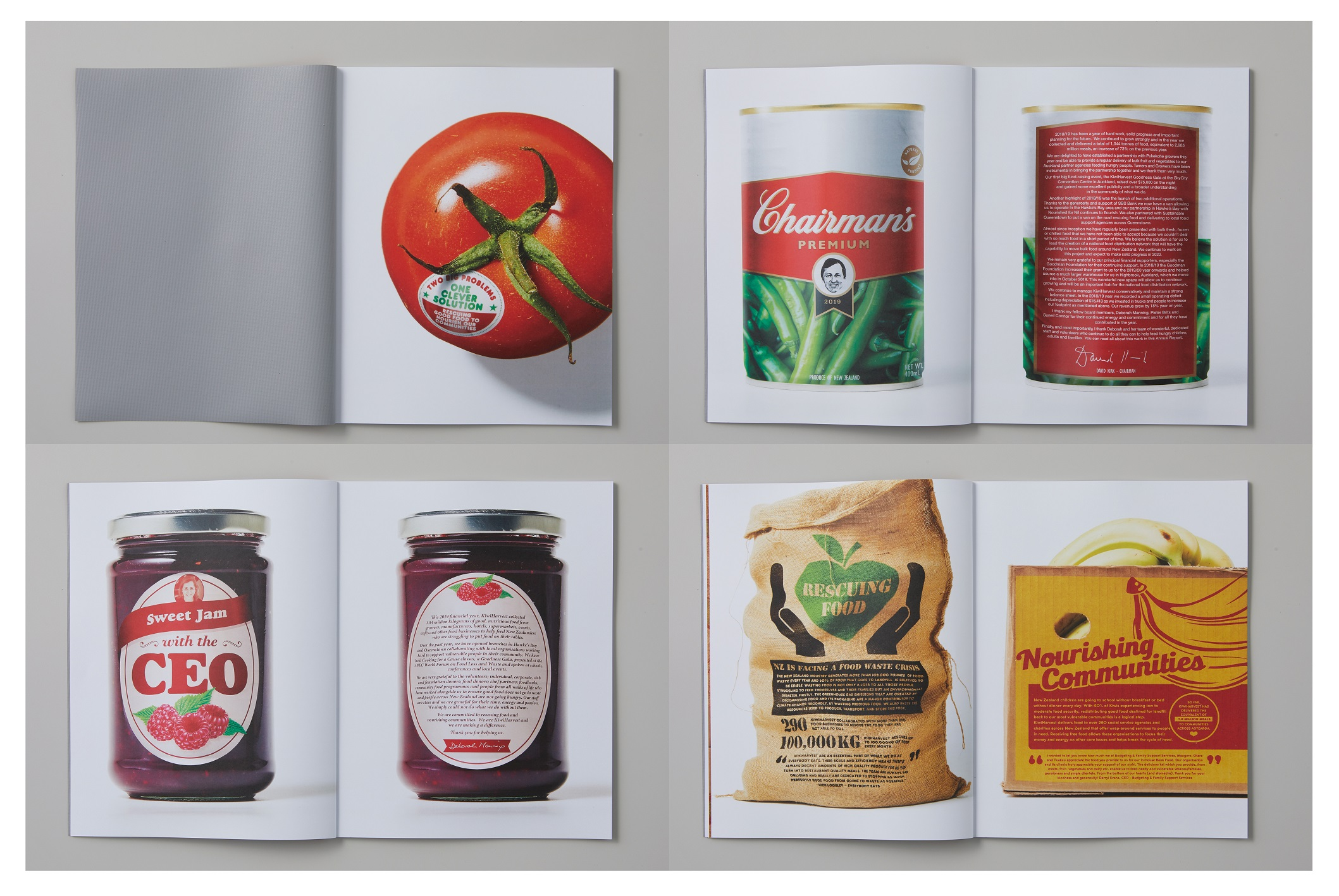 Wunderman Thompson upcycle ad billboards to create appetising 2019 KiwiHarvest Annual Report