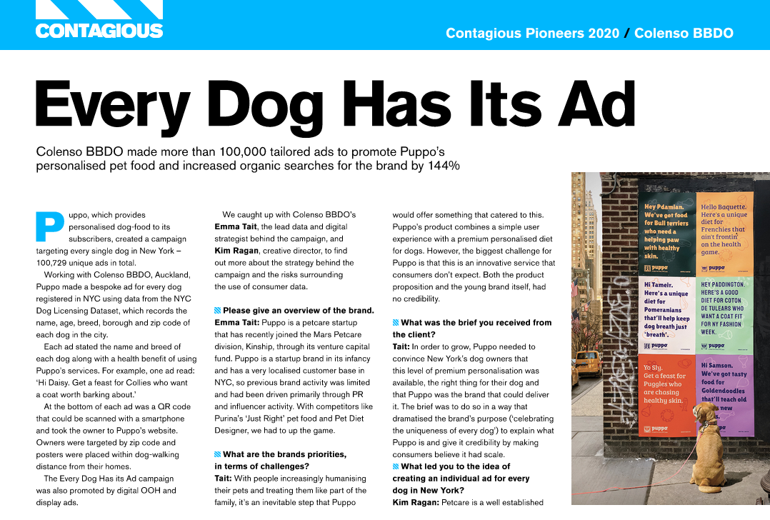 Colenso BBDO named among Top 10 Contagious Pioneers 2020 list of the best and bravest agencies for the sixth year in a row