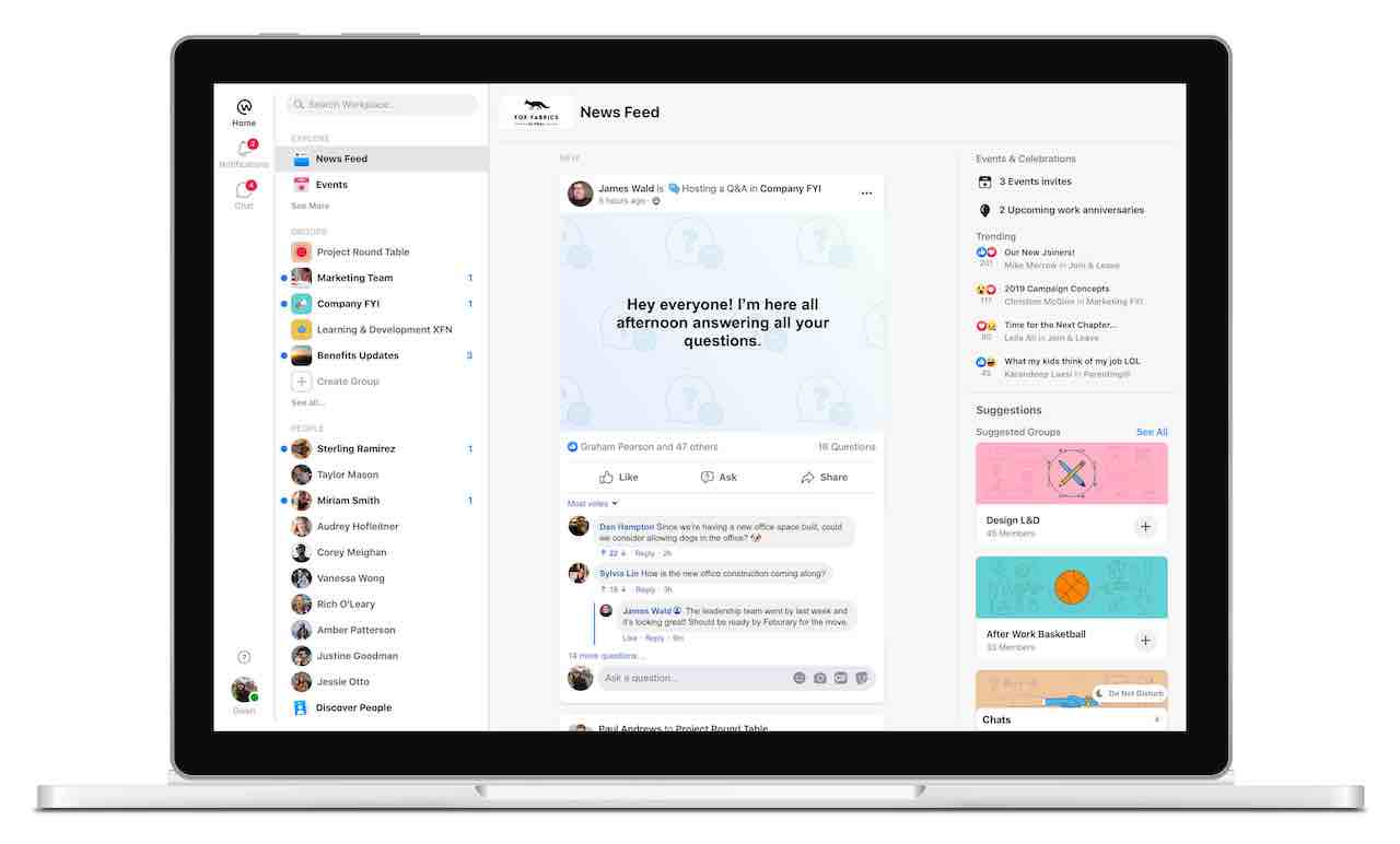 Facebook Workplace enables high fidelity comms and supports employees working remotely