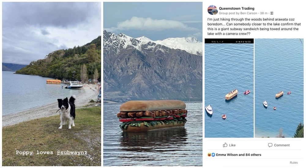 Giant sandwich spotted floating on Lake Whakatipu in Subway teaser via Publicis