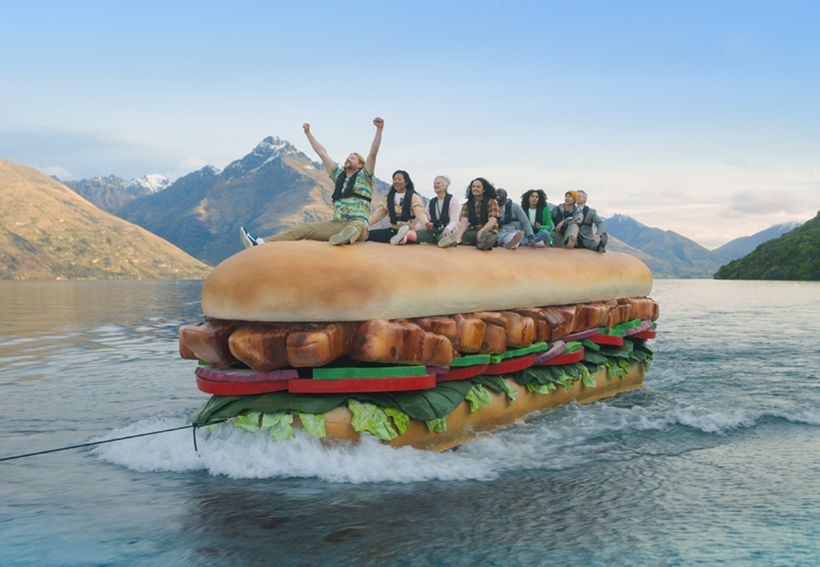 Giant 9-metre long sub sails on Lake Wakatipu in latest Subway campaign via Publicis Worldwide